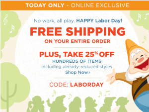 disney store labor day sale
