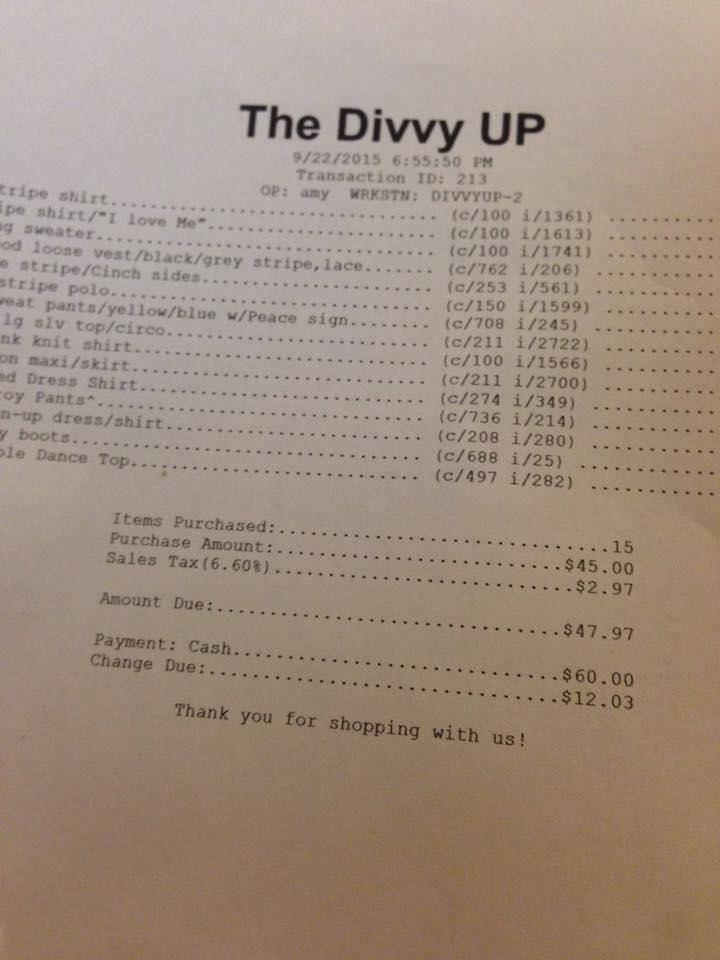 divvy up receipt