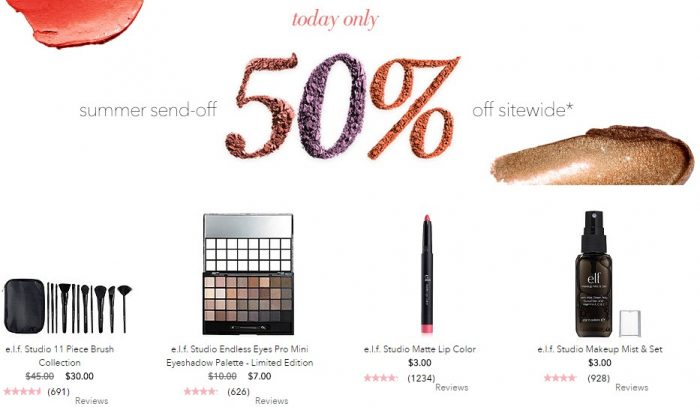 elf cosmetics 50 off
