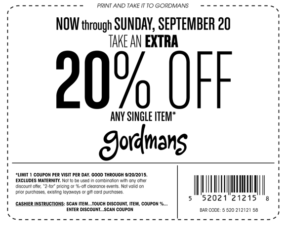 Gordmans Coupons & Promo Codes. 8 verified offers for December, Coupon Codes / Clothing, Shoes & Jewelry / Clothing / Gordmans Coupon. Add to Your Favorites. from users. We have 8 Gordmans coupon codes for you to choose from including 7 sales, and 1 free shipping discount code%().