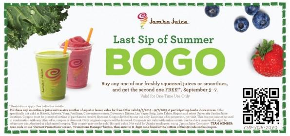 graphic relating to Jamba Juice Printable Coupon referred to as Jamba Juice: BOGO Cost-free Juices or Smoothies Coupon! Utah