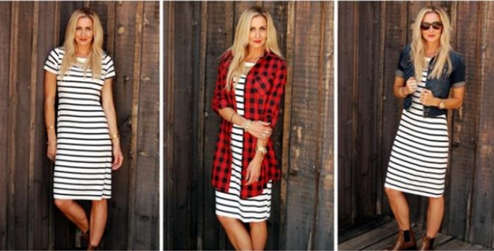 winter stripe dress