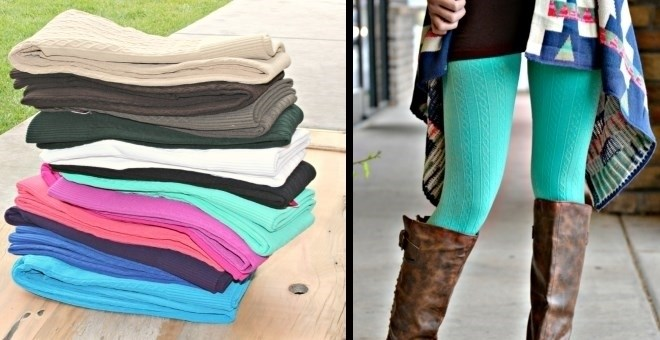 Cable Textured Fleece Lined Leggings