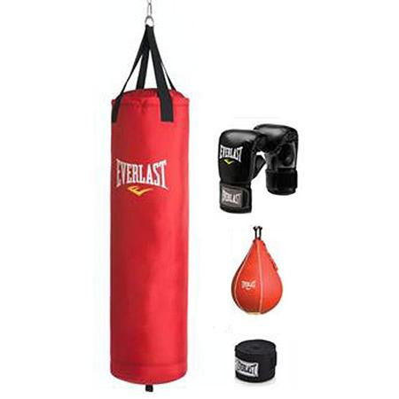 Everlast 70 lb Red PolyCanvas Heavy Bag Kit