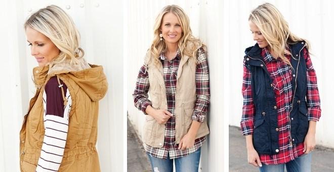 Fur Lined Hooded Vest - 4 Colors
