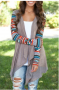 Gray Aztec Angled Cardigan Sweater