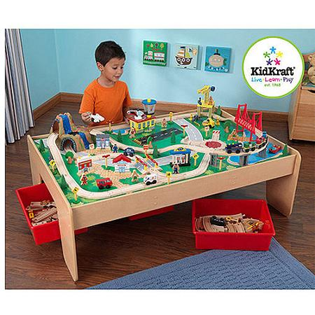 KidKraft Wooden Train Table with 3 Bins and 120-Piece Waterfall Mountain Train Set