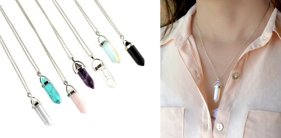 Natural Healing Stone Pendant Necklaces