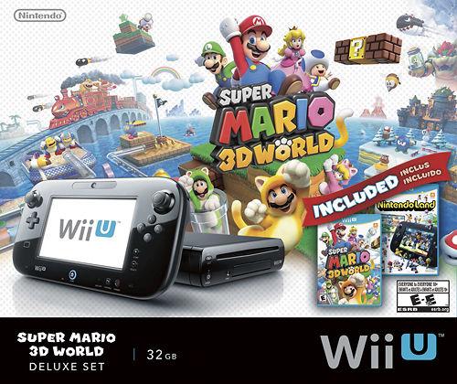 Nintendo Wii U 32GB Console Super Mario 3D World and Nintendo Land Bundle Black