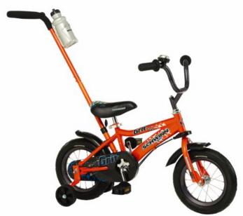Schwinn Orange Grit Boys' Bike with Removable Push Handle