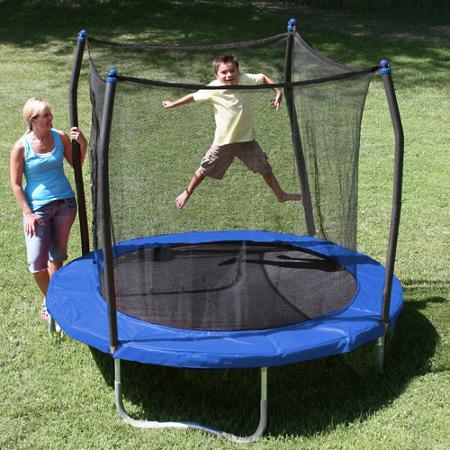 skywalker trampolines 8u0027 round trampoline with safety enclosure blue