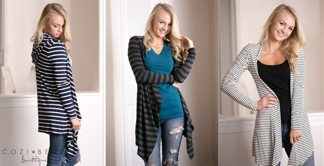 Striped Hooded Cardigans