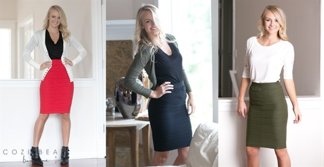 Ultra Flattering Textured Pencil Skirts