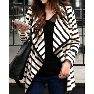 Women's Striped Black and White Cardigan Coat