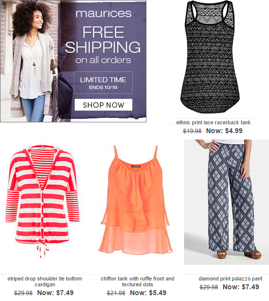 maurices free shipping
