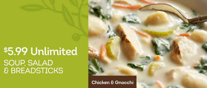 Olive Garden: Unlimited Soup, Salad, and Breadsticks for only $5.99 ...