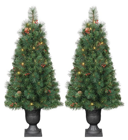 3.5 ft. Pre-Lit Douglas Fir Porch Pot Artificial Tree Set- Clear Lights
