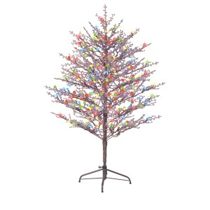 GE 5-ft Pre-Lit Winterberry Brown Artificial Christmas Tree with Multicolor LED Lights