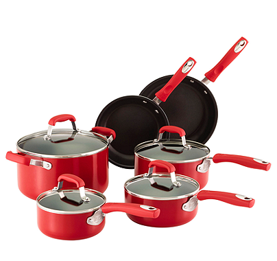 Guy Fieri 10 Pc Red Aluminum Nonstick Cookware Set For