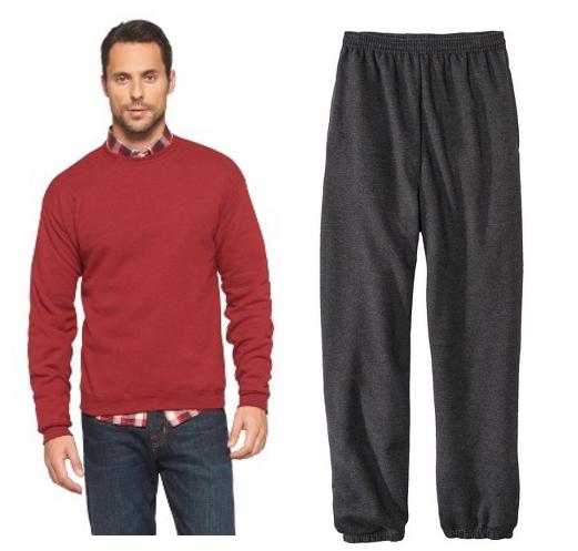 Hanes Premium Men's Fleece Crew-Neck Sweatshirt and Sweat Pants