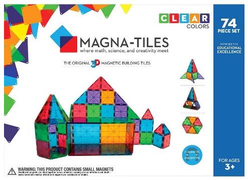 Valtech Magna-Tiles Clear Colors 74 Piece Set