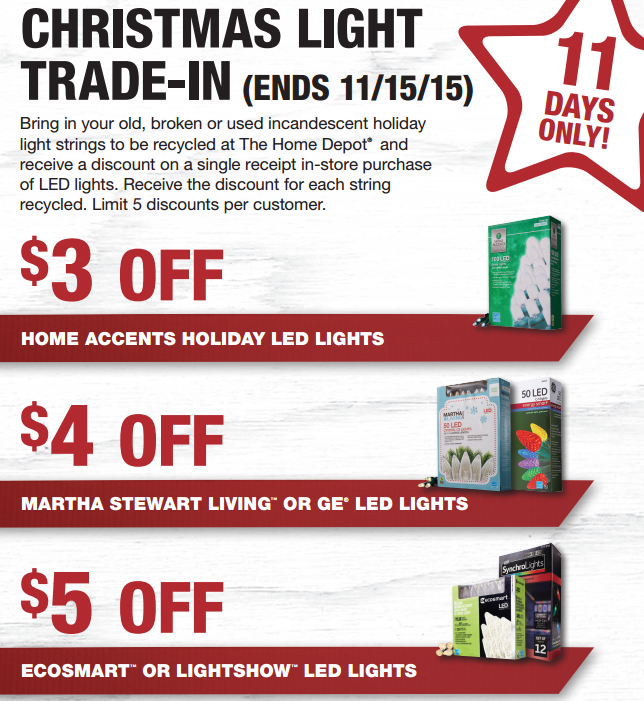 home depot christmas ligh trade in
