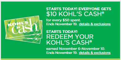 kohls cash earn and redeem nov 11