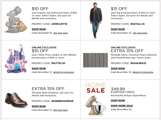 kohls promo codes nov 11 2015