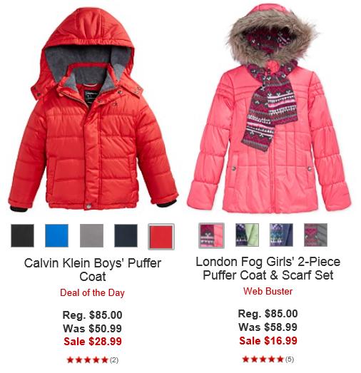 puffy coats for kids macys