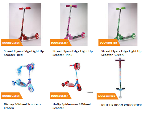 scooters and pogo sticks for $14.99