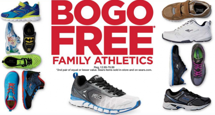sears bogo free family athletic shoes