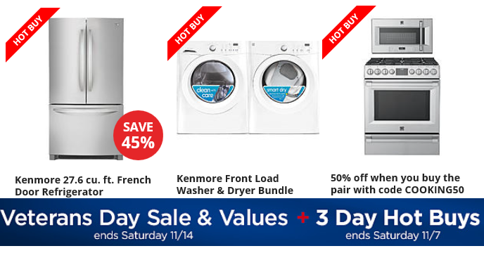 some really nice deals on appliances my favorite deals are the kenmore items take advantage of the sears veterans day sale free delivery included