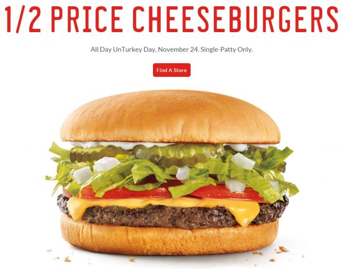 sonic unturkey day half price cheeseburgers