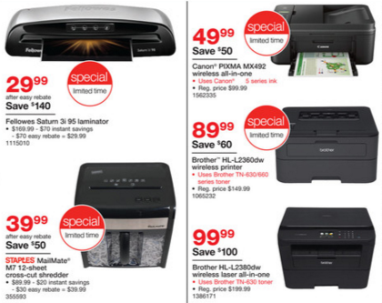 staples bf ad printers