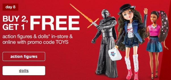 target buy 2 get 1 free dolls action figures
