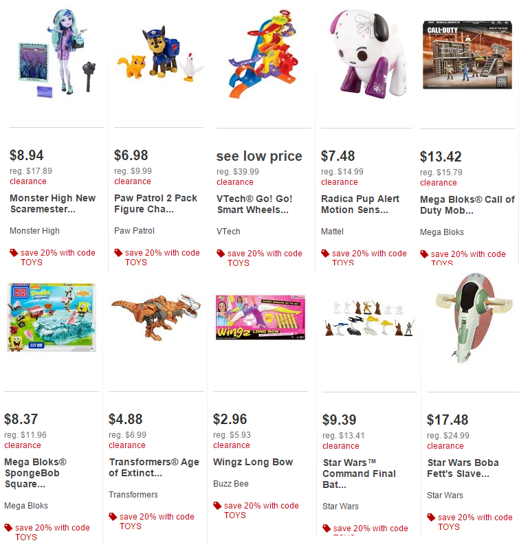 target clearance toys