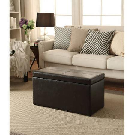 Faux Leather Hinged Storage Ottoman, Multiple Colors
