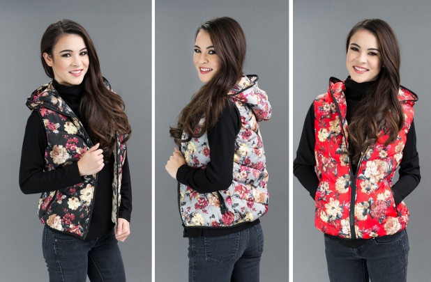 Floral Puffer Vest with Hood
