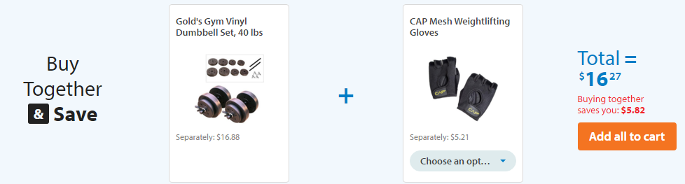 Gold's Gym Vinyl Dumbbell Set, 40 lbs + CAP Mesh Weightlifting Gloves