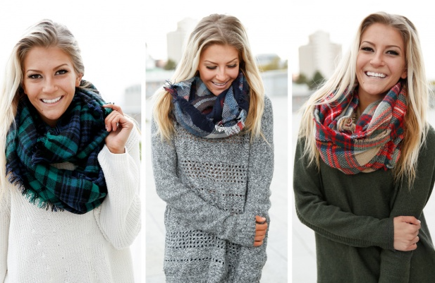 Plaid Blanket Infinity Scarves