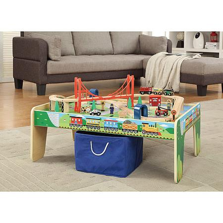 Wooden 50-Piece Train Set with Small Table  sc 1 st  Utah Sweet Savings : wooden train set tables - pezcame.com