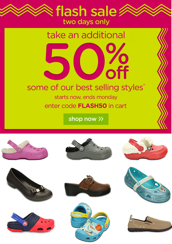 5a70a14bb53389 Crocs Flash Sale  50% Off! – Utah Sweet Savings