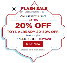 kohls flash sale toys