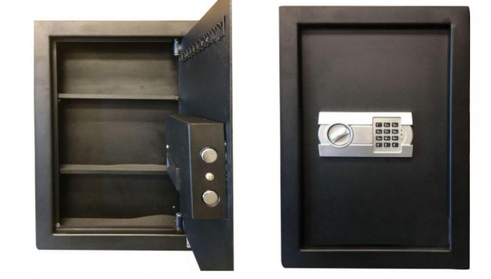 0.58 cu. ft. Wall Safe with Electronic Lock collage