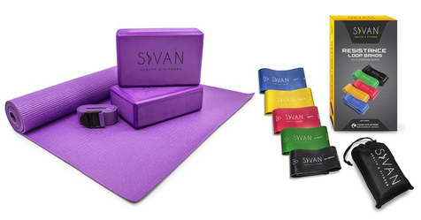 10 Piece Yoga Essentials Kit with Portable Storage Bag