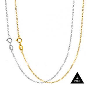 4-Pack 18K White & Yellow Gold Italian Chains