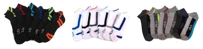 6 pairs mens fila moisture wicking socks