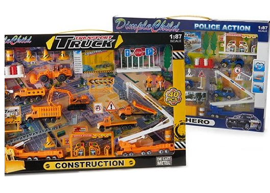 DimpleChild Die Cast Police Action & Construction Construction Transport Bundle - 80 Pieces