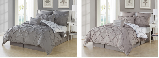 Esy Reversible Pintuck Printed 3Pc Comforter Cover Set taupe and grey