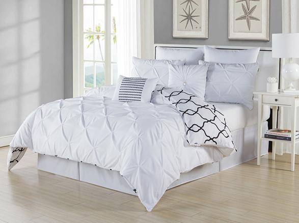 Esy Reversible Pintuck Printed 3Pc Comforter Cover Set white